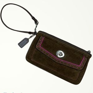 Coach • Suede Soho Wristlet with Hot Pink Accents